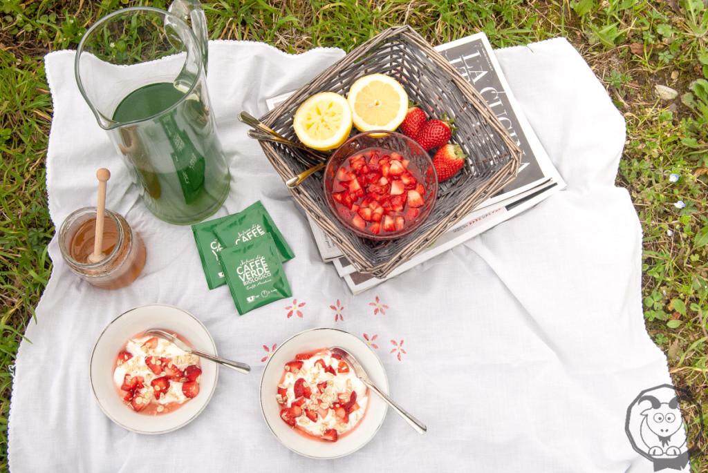 yogurt greco, fragole e avena